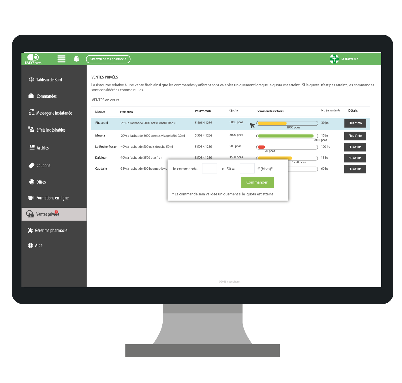 Interface de gestion du pharmacien